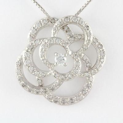 薔薇 バラ 一粒 ダイヤモンド ネックレス ペンダント ダイヤペンダント K10 10金 ゴールド K10
