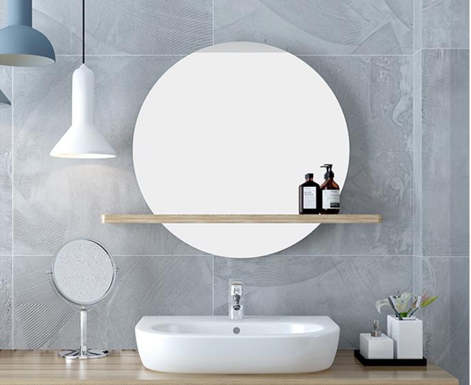 圓鏡 鏡子 60cm帶置物架 衛浴鏡 北歐浴室鏡子 衛生間壁掛裝飾鏡圓鏡廁所洗手間帶置物架梳妝圓形鏡