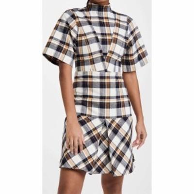 ヴィクトリア ベッカム Victoria Beckham レディース ワンピース ワンピース・ドレス Short Sleeve Paneled Mini Dress Off White/Navy