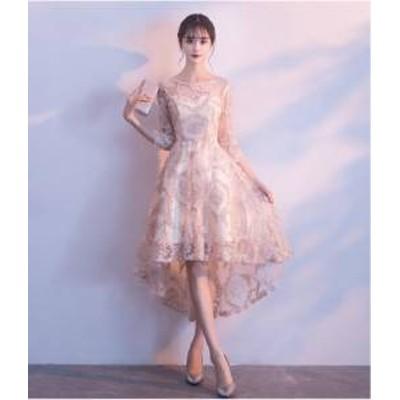 ドレス ワンピース ひざ丈 七分袖 フィッシュテール 20代 上品 きれいめ 春夏 結婚式 お呼ばれ a636