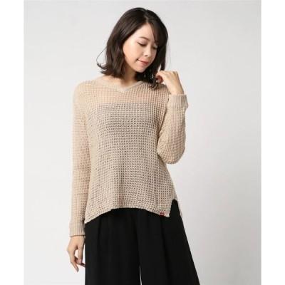 ニット GKT57 / ROIAL(ロイアル) ざっくり編み ミドル丈 透け感 Vネックセーター