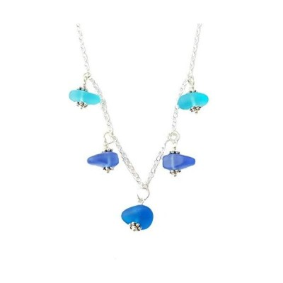 """Three Colors of the Hawaiian Ocean"""" sea glass matching necklace, freshwater pearl, (Hawaii Gift Wrapped, Customizable Gift Message)"""