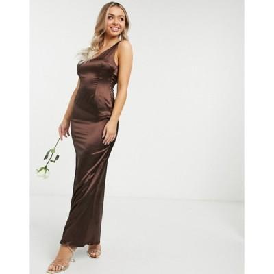 ティエフエヌシー レディース ワンピース トップス TFNC Bridesmaid sleeveless satin maxi dress with deep plunge and low back in chocolate
