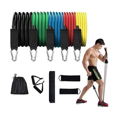EASTSURE Resistance Bands Set Portable Exercise Bands with Door Anchor, Handles, Carry Bag, Legs Ankle Straps for Gym Training, Physical The