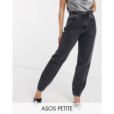 エイソス ASOS Petite レディース ジーンズ・デニム ボトムス・パンツ Petite high rise 'slouchy' mom jeans in washed black ウォッシュブラック
