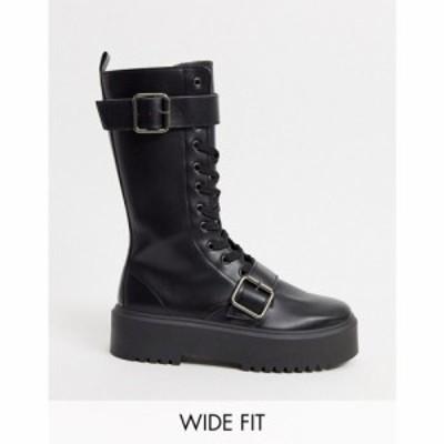 エイソス ASOS DESIGN レディース ブーツ チャンキーヒール シューズ・靴 Wide Fit Ashford chunky buckle boots in black ブラック