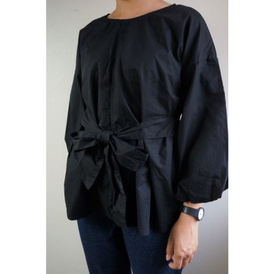 在庫処分価格 シャツ リボン トップス バルーン レディース  大きいサイズ ブラック Vネック 送料無料