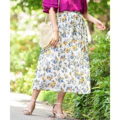 スカート 花柄ロングスカート