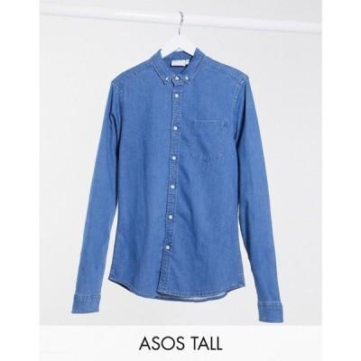 エイソス ASOS DESIGN メンズ シャツ デニム トップス Tall stretch slim organic denim shirt in mid wash ブルー