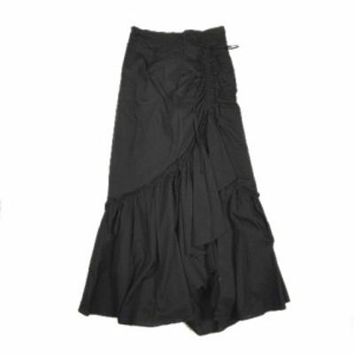 【中古】スナイデル snidel 美品 20SS コットン ティアード ロング スカート ギャザー リボン フリル 無地 SWFS202061