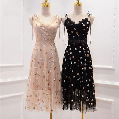 パーティードレス ミディアムドレス ワンピース 袖なし ノースリ vネック Aライン スパンコール DIVAセレクト
