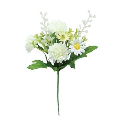 ポンポンミックスピック WHITE 造花 花材 アートフラワー 6572-01