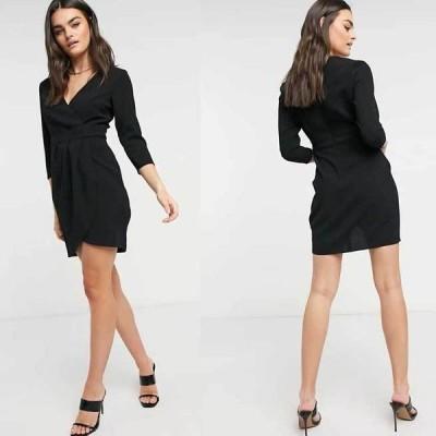 エイソス ラップスカート ドレス Vネック スカート ASOS ラップスカート付きミニドレス