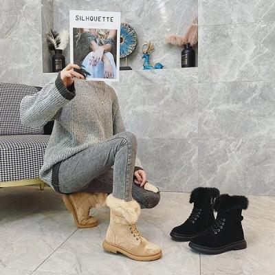 ブーツ レディース ブーティ ショート丈 ハイカット 厚底 裏地付き フェイクファー 編み上げブーツ スノーブーツ 保温 カジュアル シンプル 冬