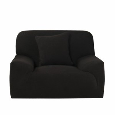 "uxcell ソファのスリップカバー 1 2 3 4シーターソファスパンデックスブラック Chair-1seater 35""x 55"""