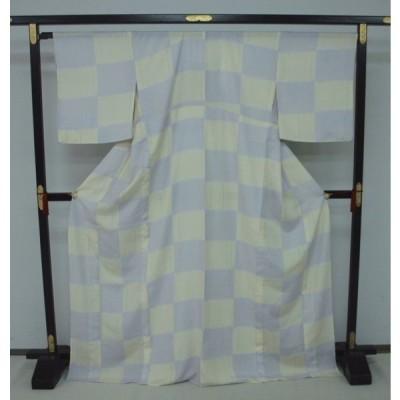 お買い得!お仕立て上がり 夏きもの 紗小紋  薄黄・白梅鼠色系 市松柄1673