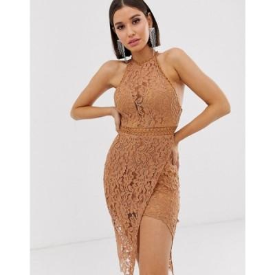 ラブトライアングル Love Triangle レディース ワンピース ワンピース・ドレス high neck lace dress with wrap skirt in caramel Caramel