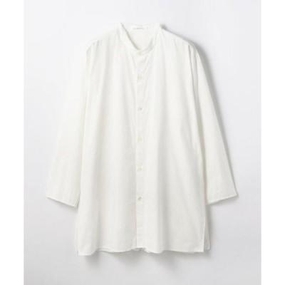 シャツ ブラウス ビンテージコットン バンドカラーシャツ