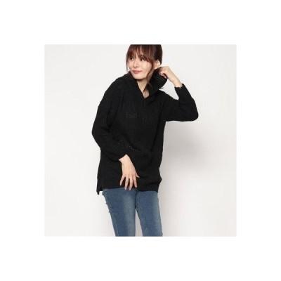 スタイルブロック STYLEBLOCK フード付きオーバーサイズセーター (ブラック)