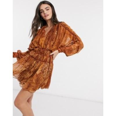 エイソス レディース ワンピース トップス ASOS DESIGN shirred waist mini dress with satin cuff in abstract tile print Multi