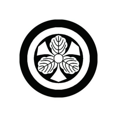 家紋シール 白紋黒地 丸に剣三つ柏 布タイプ 直径40mm 6枚セット NS4-0520W