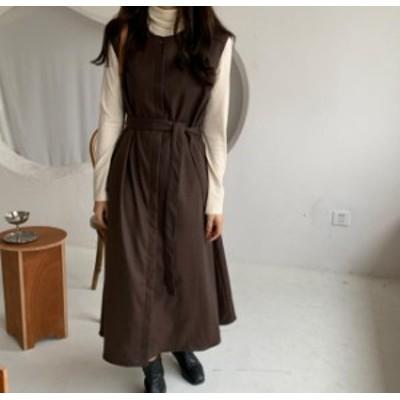 韓国 ファッション レディース ジャンパースカート ロング フレア ウエストマーク リボン ハイウエスト レトロ 大人可愛い カジュアル シ