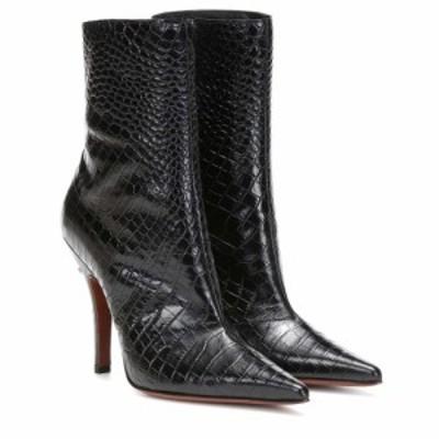 ヴェトモン Vetements レディース ブーツ ショートブーツ シューズ・靴 Croc-effect leather ankle boots Black