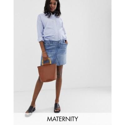 バンディア Bandia レディース ミニスカート スカート Maternity denim mini skirt with removeable band Vintage lightwash
