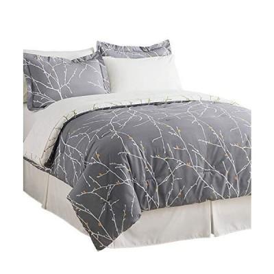Bedsure Bed in A Bag Bedding Sets Queen with Comforter Queen Comforter Set 8 Pieces Grey Tree Branch Printed - 1 Comforter, 2 Pillow Shams,
