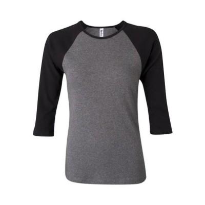 ベビー 衣類 トップス BELLA + CANVAS - Women's 1X1 Baby Rib Raglan Three-Quarter Sleeve Tee BELLA + CANVAS - NIB Tシャツ