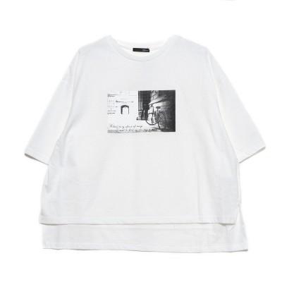 ラナン Ranan フロントデザイン大人Tシャツ (オフホワイトフォト)