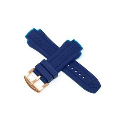 Swiss Legend 19mm ブルーシリコンラバー腕時計ストラップ ローズゴールドトーンステンレスSLバックル付き 53mm ネプチューン腕時計