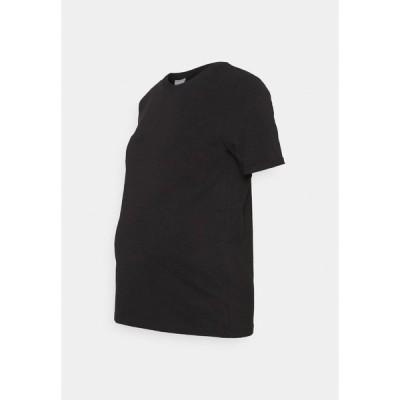 ピーシーズ マタニティ Tシャツ レディース トップス PCMRIA FOLD UP SOLID - Basic T-shirt - black