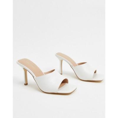 フォーエバーニュー Forever New レディース サンダル・ミュール スクエアトゥ シューズ・靴 square toe mule in white ホワイト