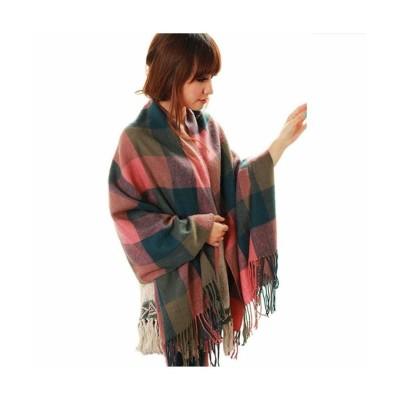 【スタイルエイチ】 大判 ストール ロングマフラー フリンジ 韓国ファッション レディース グリーン×ピンク F STYLE H