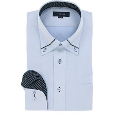形態安定レギュラーフィット ボタンダウン衿切替長袖ビジネスドレスシャツ/ワイシャツ