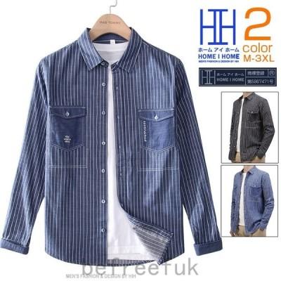 カジュアルシャツ メンズ 長袖 ストライプ柄 ポケット付き 切り替え 刺繍入り おしゃれ シャツ スタイリッシュ