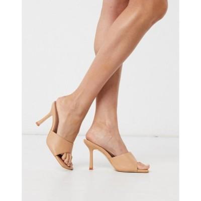 パブリックデザイア レディース サンダル シューズ Public Desire Harlow square toe mule sandals in beige
