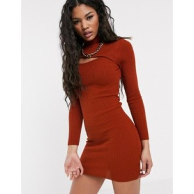 エイソス レディース ワンピース トップス ASOS DESIGN asymmetric cut out high neck mini dress Rust