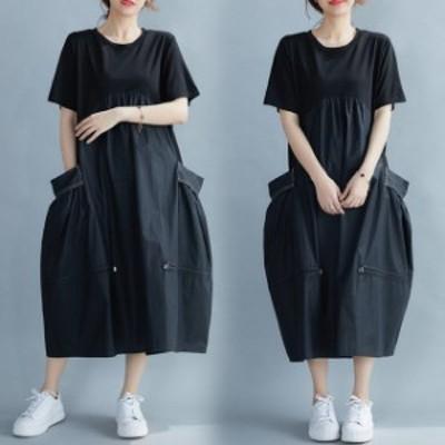 ロングワンピース 夏 コクーンスカート 40代 半袖 ブラック 異素材MIX シック 夏ワンピ リゾート カジュアル シンプル ゆったり 体系カバ