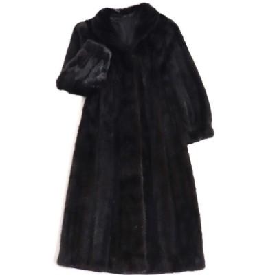 毛並み極美品▼MINK ミンク 本毛皮超ロングコート ブラック 大きめサイズ15号 毛質艶やか・柔らか◎