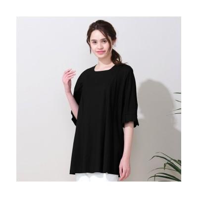 (Fitme moi/フィットミーモア)綿100%天竺袖タックTシャツ/レディース ブラック