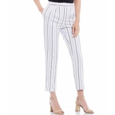 カルバンクライン レディース カジュアルパンツ ボトムス Petite Size Textured Stripe Suiting Pleat Front Cuffed Ankle Pant White/Na