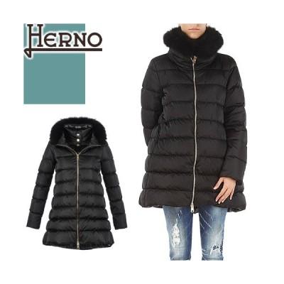 ヘルノ HERNO ダウン ダウンジャケット ダウンコート レディース 黒 ブラック ブランド 大きいサイズ きれいめ セミロング ファー PI0670D 12170