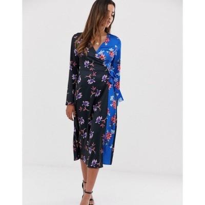 リクオリッシュ レディース ワンピース トップス Liquorish midi dress in floral mix print Black / blue