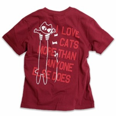 Tシャツ メンズ レディース 半袖 猫 LOVE CAT - PK Ver - ワインレッド ネコ ねこ 猫柄 雑貨 - メール便 - SCOPY スコーピー