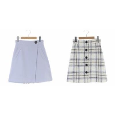 【中古】アプワイザーリッシェ リバーシブル スカート 台形 ミニ ツイード ボタン装飾 0 白 ライトパープル