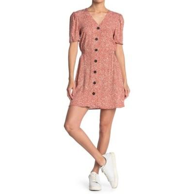 アボンド レディース ワンピース トップス V-Neck Short Sleeve Mini Dress RUST ANIMAL