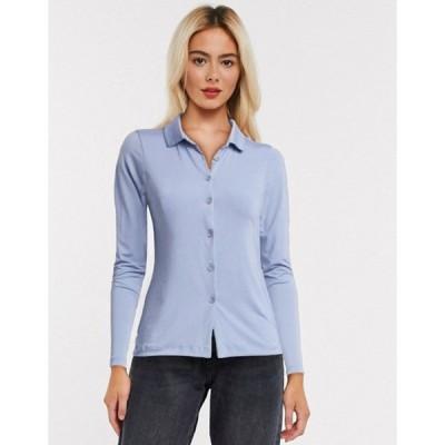 エイソス レディース シャツ トップス ASOS DESIGN slinky fitted shirt in blue