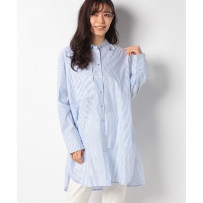 【マレーラ】 ストライプロングシャツ レディース 水色系 9号 MARELLA
